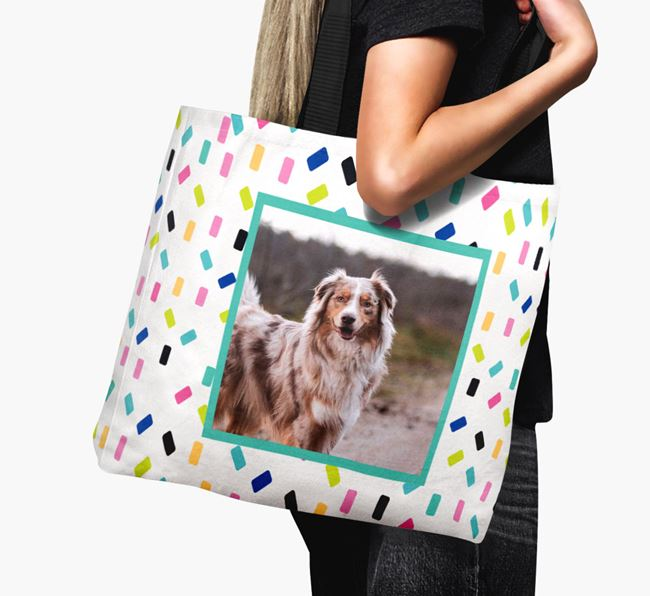 Photo Upload Canvas Bag with Colourful Pattern - Personalised for your Australian Shepherd