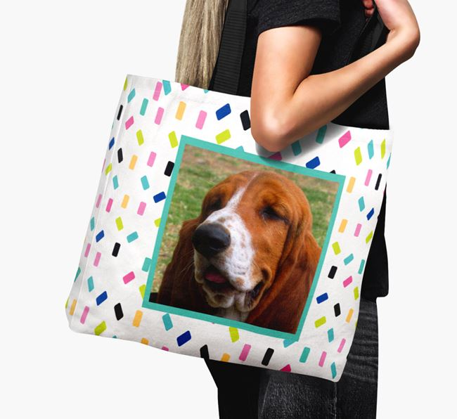 Photo Upload Canvas Bag with Colourful Pattern - Personalised for your Basset Hound