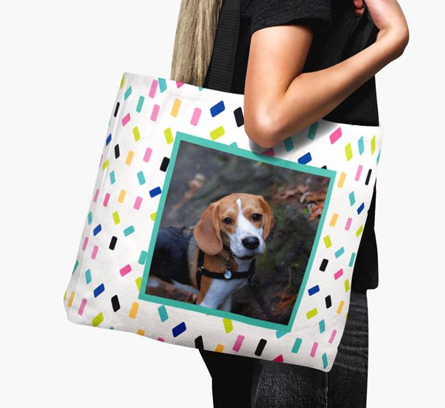 Photo Upload Canvas Bag with Colourful Pattern - Personalised for your Beagle