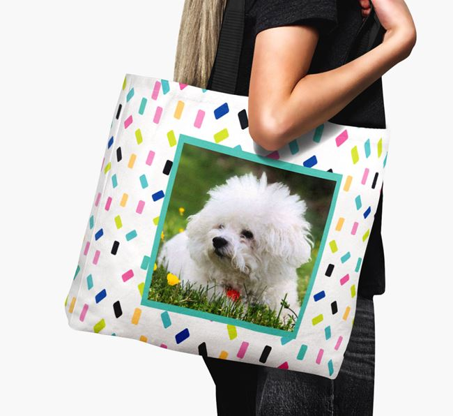 Photo Upload Canvas Bag with Colourful Pattern - Personalised for your Bichon Frise