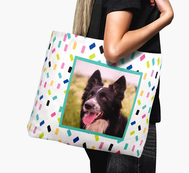 Photo Upload Canvas Bag with Colourful Pattern - Personalised for your Border Collie