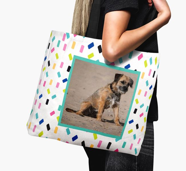Photo Upload Canvas Bag with Colourful Pattern - Personalised for your Border Terrier