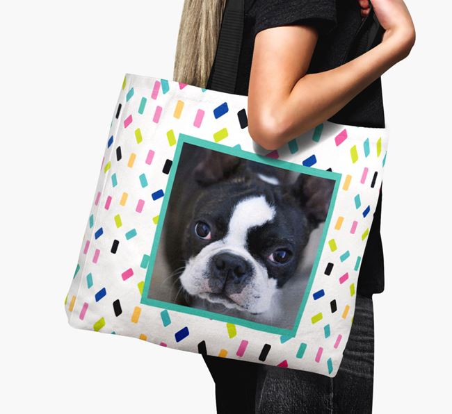 Photo Upload Canvas Bag with Colourful Pattern - Personalised for your Boston Terrier