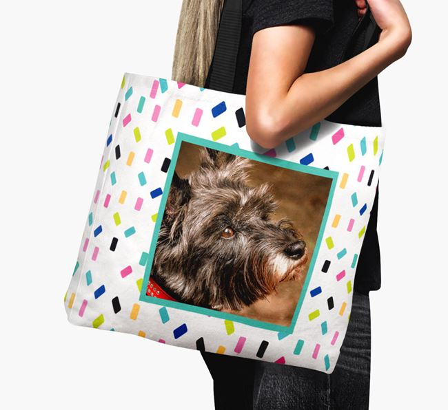 Photo Upload Canvas Bag with Colourful Pattern - Personalised for your Cairn Terrier