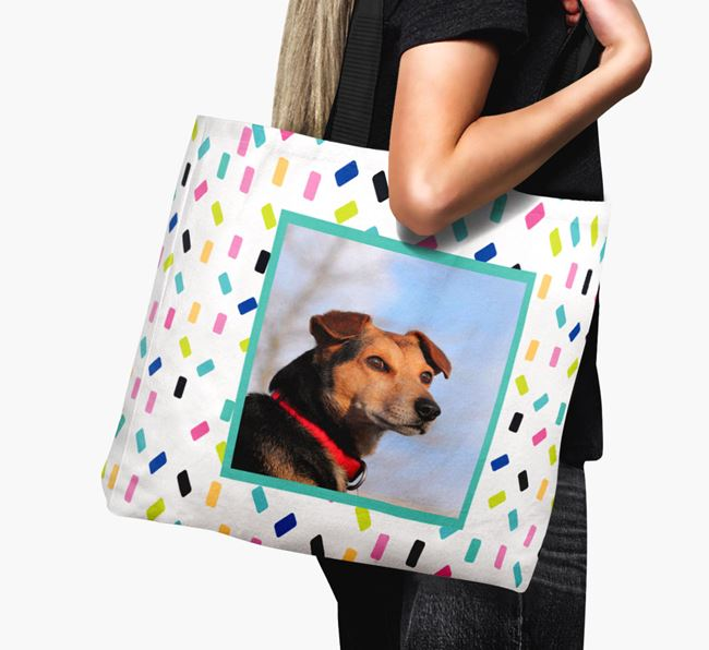 Photo Upload Canvas Bag with Colourful Pattern - Personalised for your Catalan Sheepdog