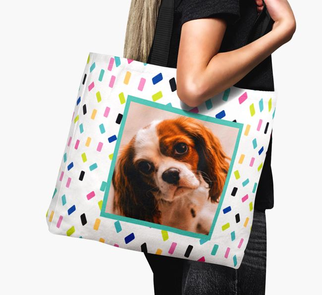 Photo Upload Canvas Bag with Colourful Pattern - Personalised for your Cavalier King Charles Spaniel