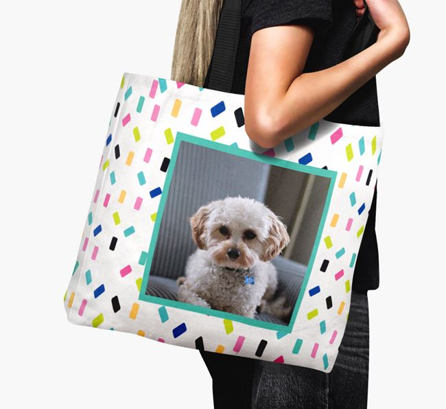 Photo Upload Canvas Bag with Colourful Pattern - Personalised for your Cavapoo