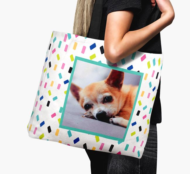 Photo Upload Canvas Bag with Colourful Pattern - Personalised for your Chihuahua