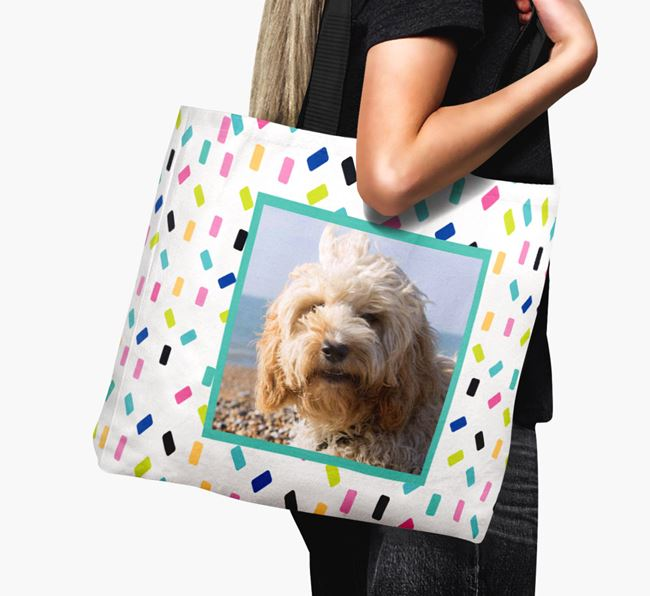 Photo Upload Canvas Bag with Colourful Pattern - Personalised for your Cockapoo