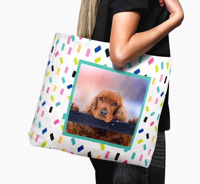 Photo Upload Canvas Bag with Colorful Pattern - Personalized for your Cocker Spaniel