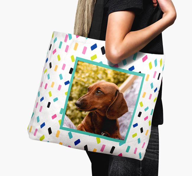 Photo Upload Canvas Bag with Colourful Pattern - Personalised for your Dachshund