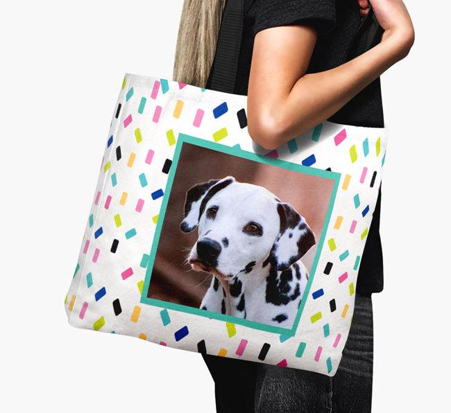 Photo Upload Canvas Bag with Colourful Pattern - Personalised for your Dalmatian