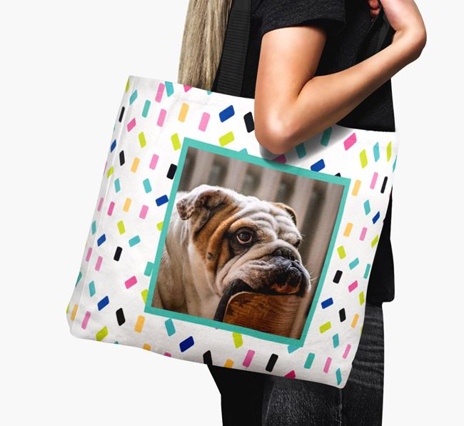 Photo Upload Canvas Bag with Colorful Pattern - Personalized for your English Bulldog