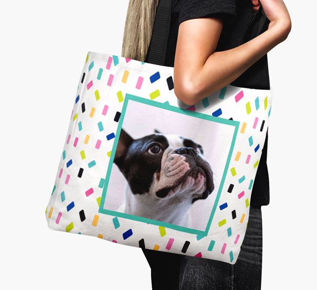 Photo Upload Canvas Bag with Colourful Pattern - Personalised for your French Bulldog