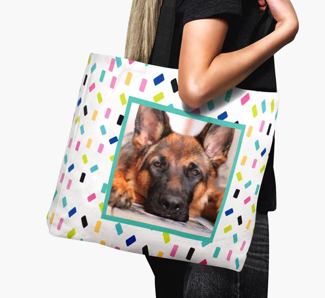Photo Upload Canvas Bag with Colourful Pattern - Personalised for your German Shepherd