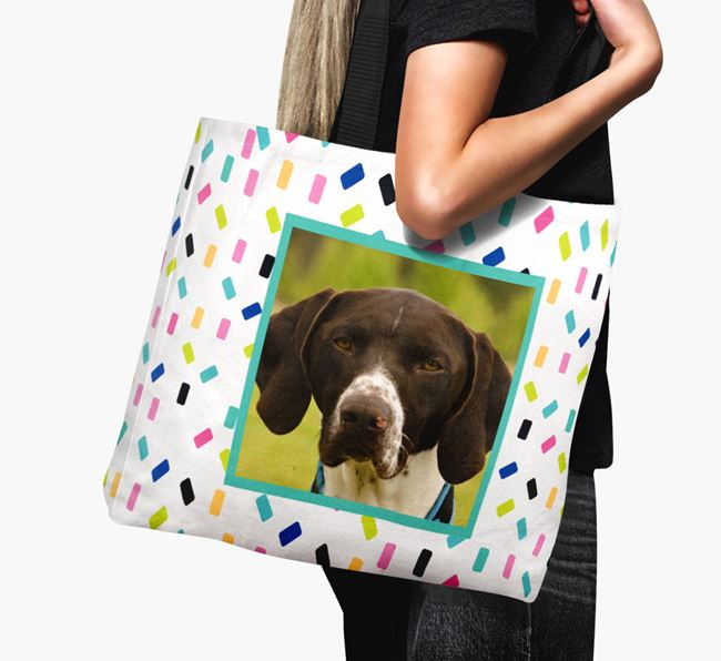 Photo Upload Canvas Bag with Colourful Pattern - Personalised for your German Shorthaired Pointer
