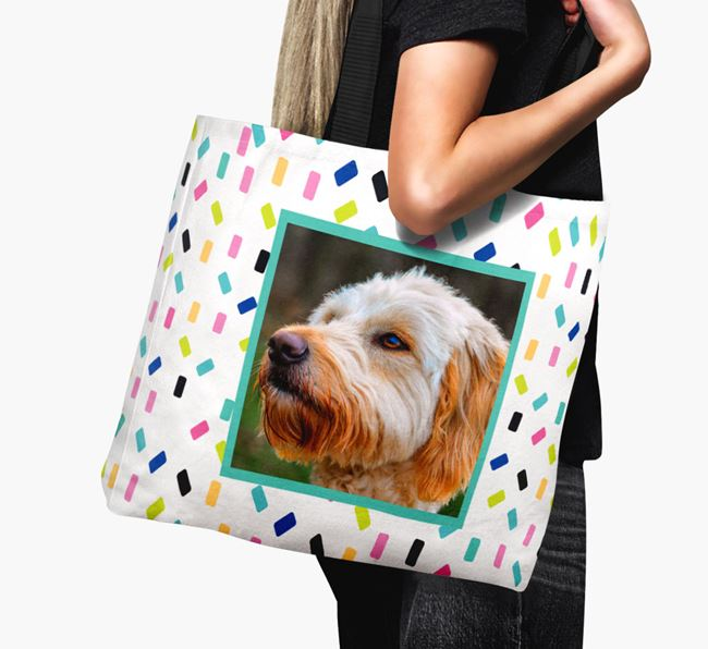 Photo Upload Canvas Bag with Colourful Pattern - Personalised for your Goldendoodle