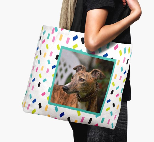 Photo Upload Canvas Bag with Colourful Pattern - Personalised for your Greyhound