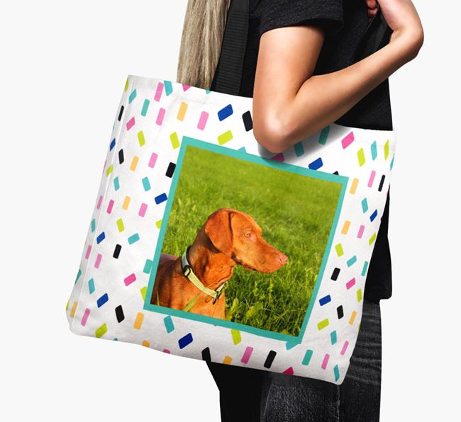 Photo Upload Canvas Bag with Colourful Pattern - Personalised for your Hungarian Vizsla