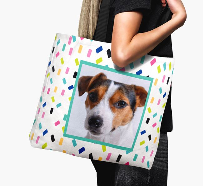 Photo Upload Canvas Bag with Colourful Pattern - Personalised for your Dog