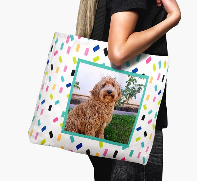 Photo Upload Canvas Bag with Colourful Pattern - Personalised for your Labradoodle