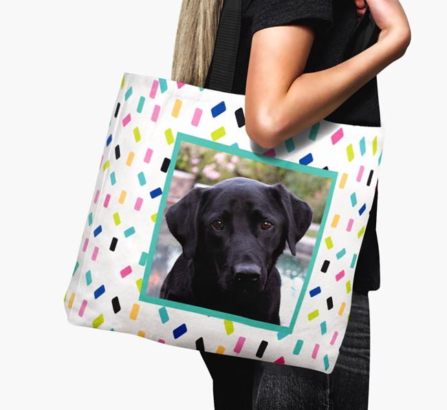 Photo Upload Canvas Bag with Colourful Pattern - Personalised for your Labrador Retriever