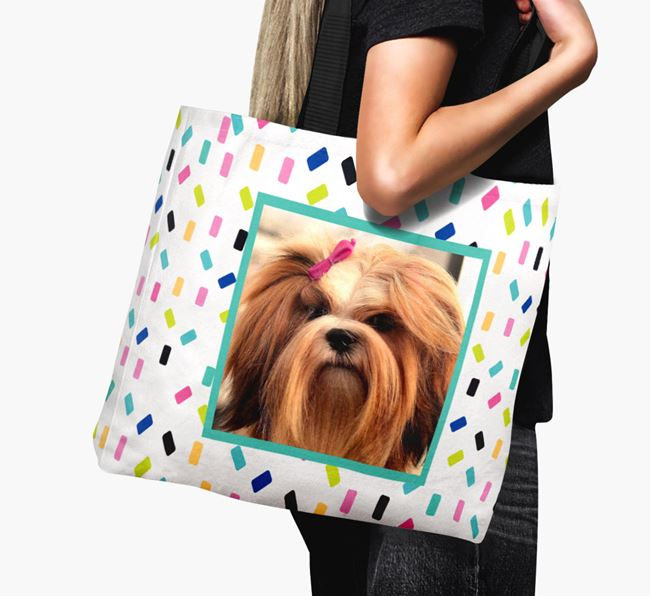 Photo Upload Canvas Bag with Colourful Pattern - Personalised for your Lhasa Apso