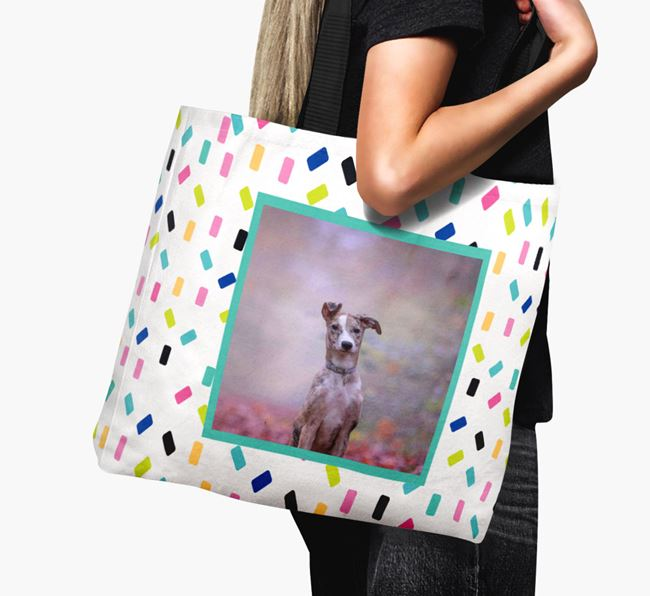 Photo Upload Canvas Bag with Colourful Pattern - Personalised for your Lurcher