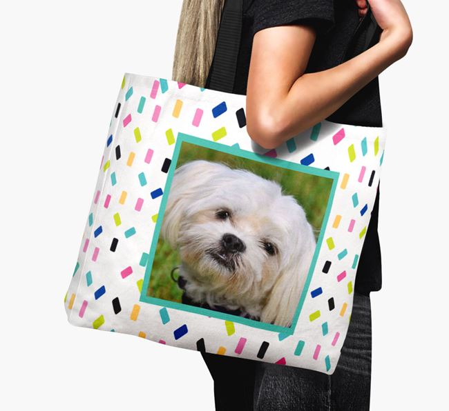 Photo Upload Canvas Bag with Colourful Pattern - Personalised for your Maltese