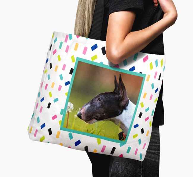 Photo Upload Canvas Bag with Colourful Pattern - Personalised for your Miniature Bull Terrier