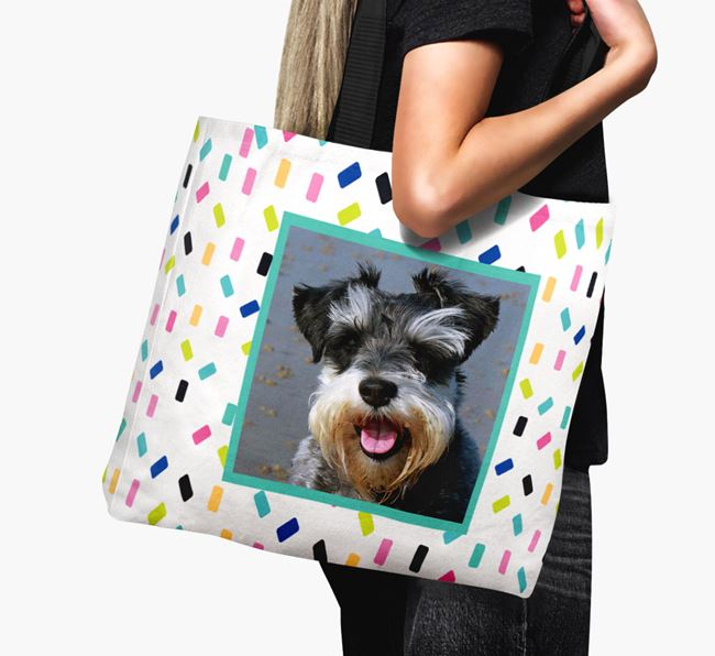 Photo Upload Canvas Bag with Colourful Pattern - Personalised for your Miniature Schnauzer