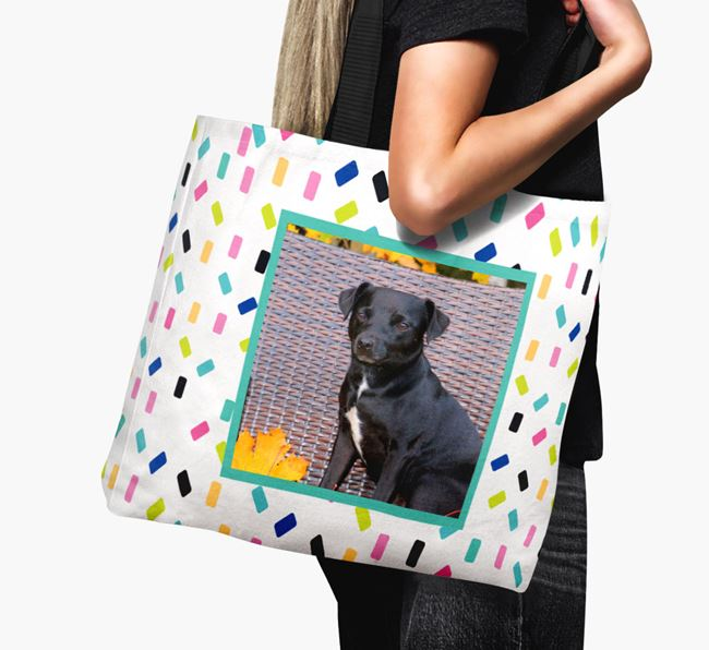 Photo Upload Canvas Bag with Colourful Pattern - Personalised for your Patterdale Terrier