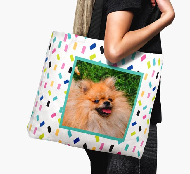 Photo Upload Canvas Bag with Colourful Pattern - Personalised for your Pomeranian