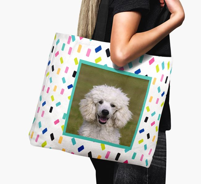 Photo Upload Canvas Bag with Colourful Pattern - Personalised for your Poodle
