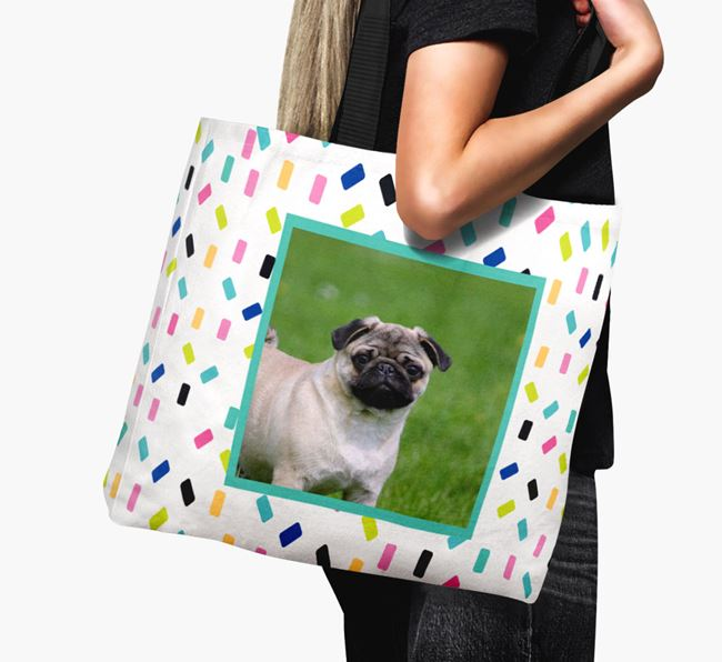 Photo Upload Canvas Bag with Colourful Pattern - Personalised for your Pug