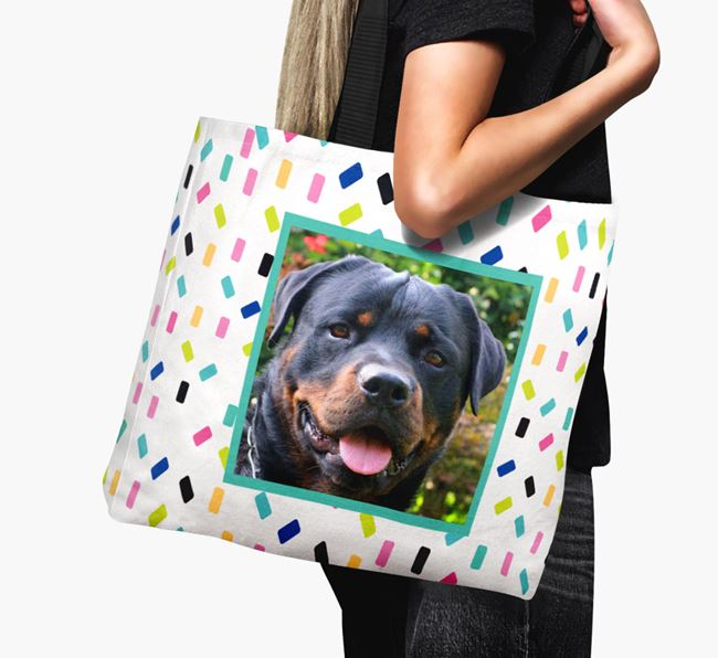 Photo Upload Canvas Bag with Colourful Pattern - Personalised for your Rottweiler
