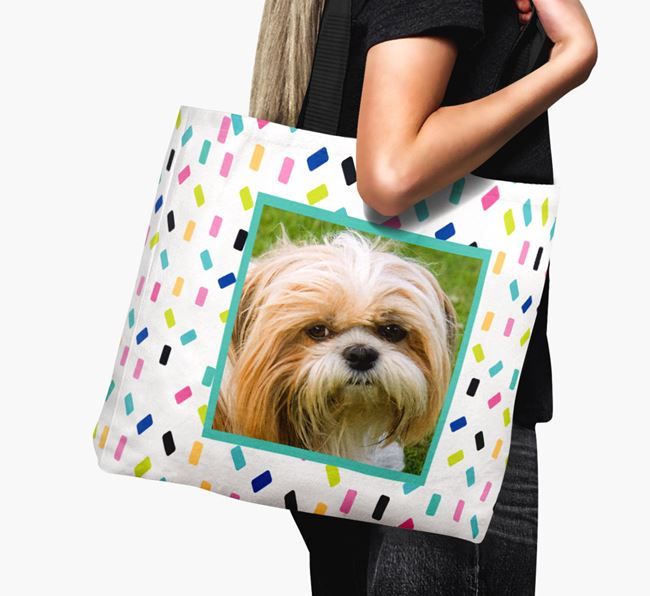 Photo Upload Canvas Bag with Colourful Pattern - Personalised for your Shih Tzu