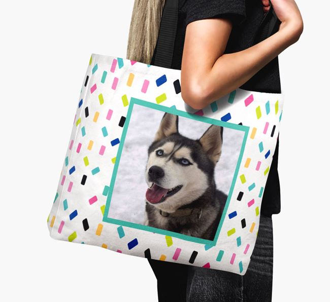 Photo Upload Canvas Bag with Colourful Pattern - Personalised for your Siberian Husky