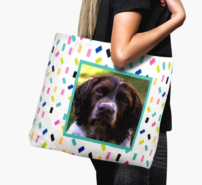 Photo Upload Canvas Bag with Colourful Pattern - Personalised for your Springer Spaniel