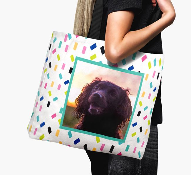 Photo Upload Canvas Bag with Colourful Pattern - Personalised for your Sprocker