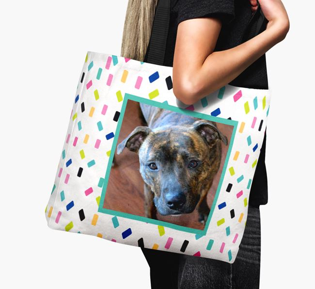 Photo Upload Canvas Bag with Colourful Pattern - Personalised for your Staffordshire Bull Terrier