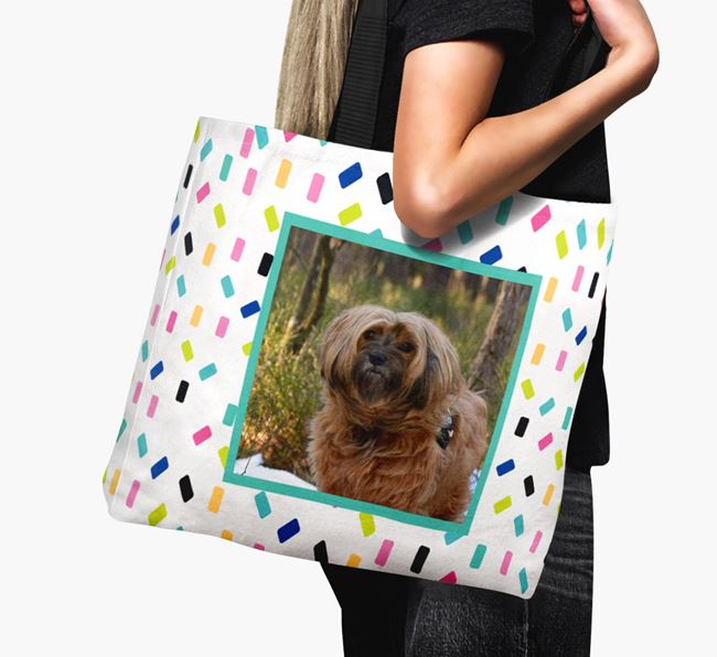 Photo Upload Canvas Bag with Colourful Pattern - Personalised for your Tibetan Terrier