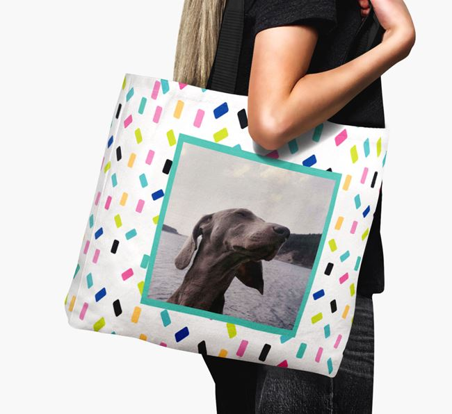 Photo Upload Canvas Bag with Colourful Pattern - Personalised for your Weimaraner