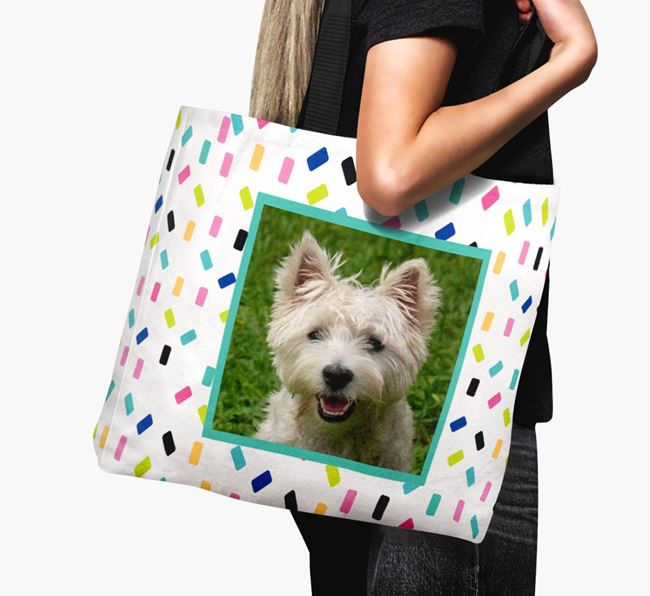 Photo Upload Canvas Bag with Colourful Pattern - Personalised for your West Highland White Terrier