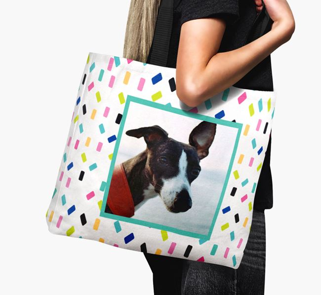 Photo Upload Canvas Bag with Colourful Pattern - Personalised for your Whippet