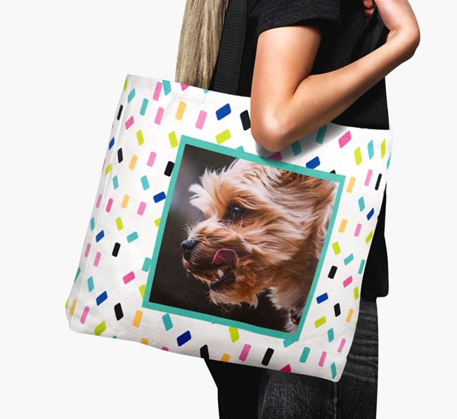 Photo Upload Canvas Bag with Colourful Pattern - Personalised for your Yorkshire Terrier
