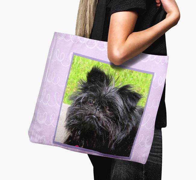 Photo Upload Canvas Bag with Scribbles - Personalised for your Affenpinscher