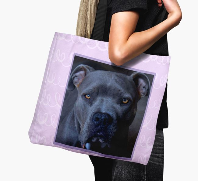 Photo Upload Canvas Bag with Scribbles - Personalised for your American Pit Bull Terrier