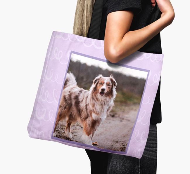 Photo Upload Canvas Bag with Scribbles - Personalised for your Australian Shepherd