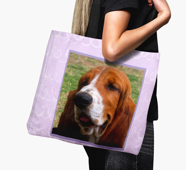 Photo Upload Canvas Bag with Scribbles - Personalised for your Basset Hound